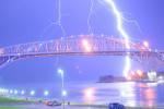 Blue Water bridge with lightning
