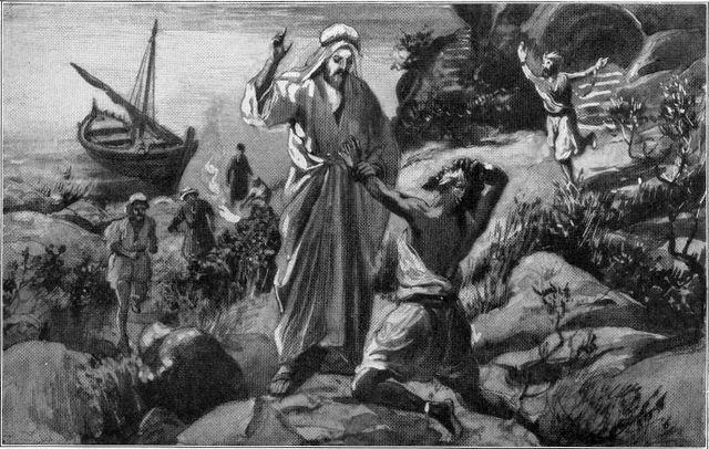 Jesus heals the man with unclean spirits named Legion Luke 8:29-30