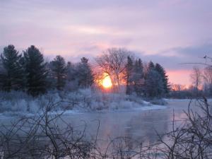 winter sun on frozen woods,  lake