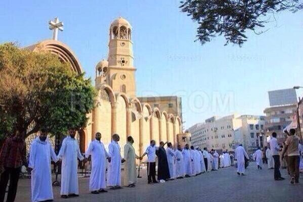 Muslims protecting Catholics at their mass